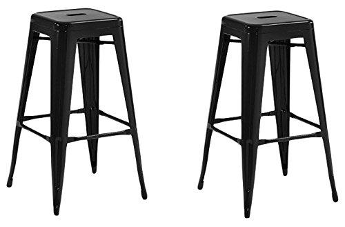 La Chaise Espagnole - Lot de 2 Tabourets de style Tolix, Noir, 76x43x43