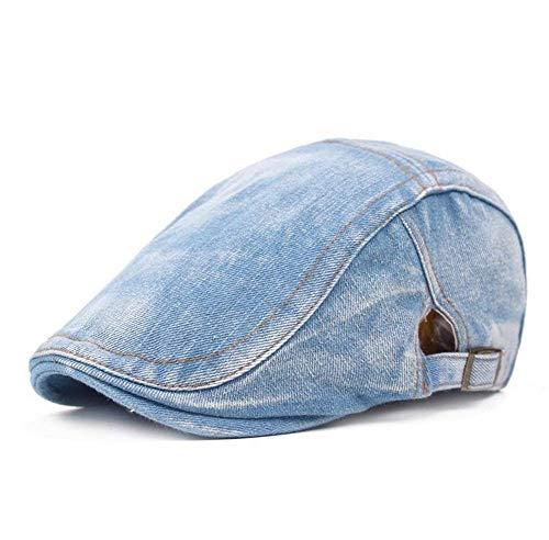Mützen Unisex Herren Damen Schiebermütze Denim Jungen Barett Jean Baumwoll Zeitungsjunge Kappen Golf Cabbie Caps (Color : Hellblau 2, Size : 56cm-60cm) (Cabbie Für Frauen Cap)