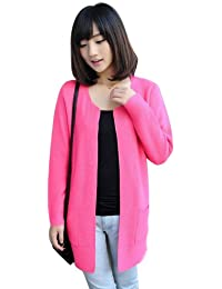 Dayiss® Fashion Damen Lange Häkelarbeitknit Gestricktes Cardigan Strickjacke Pullover Strick Mantel Rose