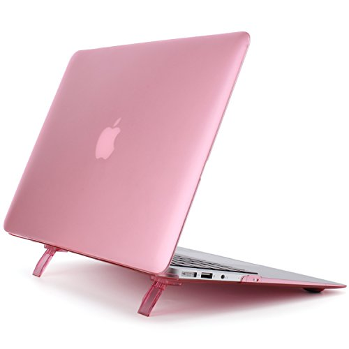 Preisvergleich Produktbild MacBook Air 11 H¨¹lle - Ultra Slim Plastik Hartschale Schutzh¨¹lle Snap Case mit faltbarem Kickstand f¨¹r MacBook Air 11 Zoll (A1370 / A1465), Rosa