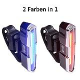 Led Fahrrad Rücklicht, 2 Farbe in 1 Sport Fahrradbeleuchtung Fahrradlicht, per USB aufladbar Wiederaufladbar und IPX4 Wasserdicht, mit 5 Modi-Rot/Blau Blink und Schalter Kontrolle