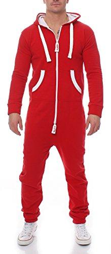 Herren Jumpsuit Jogger Jogging Anzug Trainingsanzug Einteiler Overall 9t5 (L, rot)