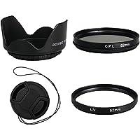 BPS Ensemble de filtres comprenant filtre CPL/filtre UV/cache objectif/pare-soleil d'objectif pour Pentax K-x-K-m/Canon EOS 650D/700D/Sony A350/700/900/Nikon D3000/D5000 et pour appareils photos avec objectifs de 52 mm 52 mm