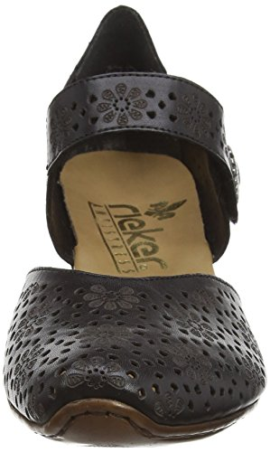 Rieker 43711-00, Scarpe Col Tacco con Cinturino a T Donna Nero (Schwarz)