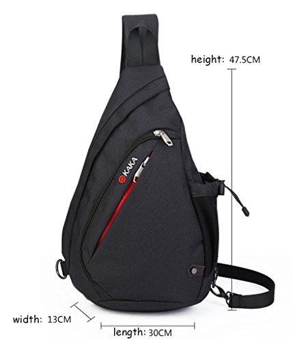 Super Moderne Leinwand Outdoor Sports Fahrrad Brust Messenger Bag Tasche schwarz - schwarz