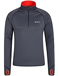 Mountain Warehouse stalactite Mens Warm Stretch Top - Easy Care T-Shirt, Quarter Zip Up Tee, Thumbholes, Brushed Inner & Scooped Back, Full Sleeves Vest - For Travelling, Hiking & Gym