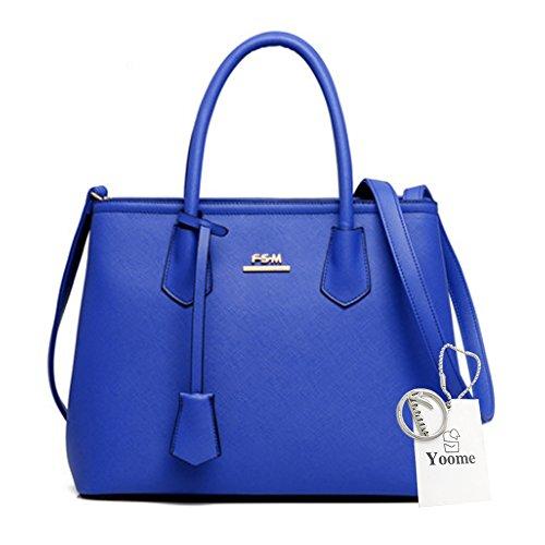 Yoome große Kapazitäts-Kreuz-Muster-Einkaufstaschen Elegante Taschen für Mädchen-Kupplungs-Geldbeutel für Frauen - Rose Blau