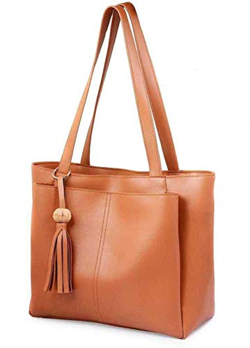 Naaz Collections Women's PU Leather Handbag (Tan)