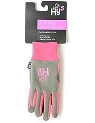 Hy5niños invierno de dos tonos guantes de equitación, color rosa y gris, tamaño Child X-Large