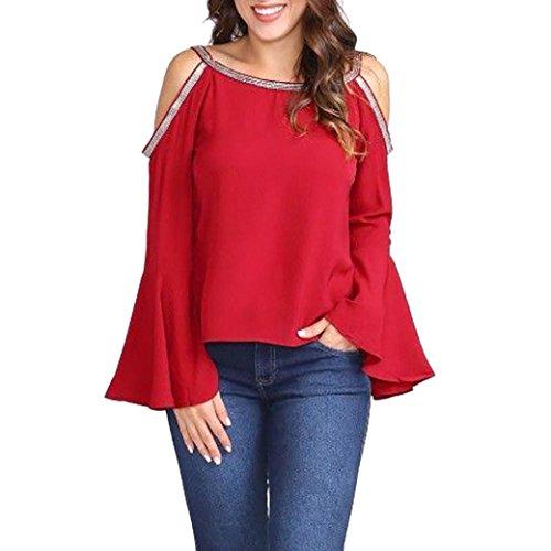 BHYDRY Mode Frauen Casual Solid Bluse Glitter Kalte Schulter Aufflackernhülse T-Shirt Top(S,Rot)