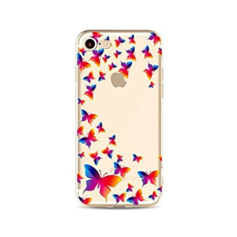 MUTOUREN iPhone 7 Plus case cover Cool 3D Romantic Design Pattern Rubber Frame Flexible TPU Soft Silicone Bumper shock resistant Case Cover- half-hearted butterfly