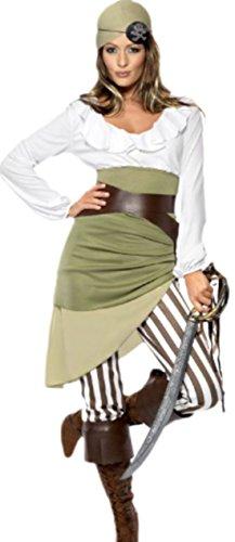 Seeräuberin Freibeuterin Kostüm, XL, Mehrfarbig (Jack Sparrow Stiefel)