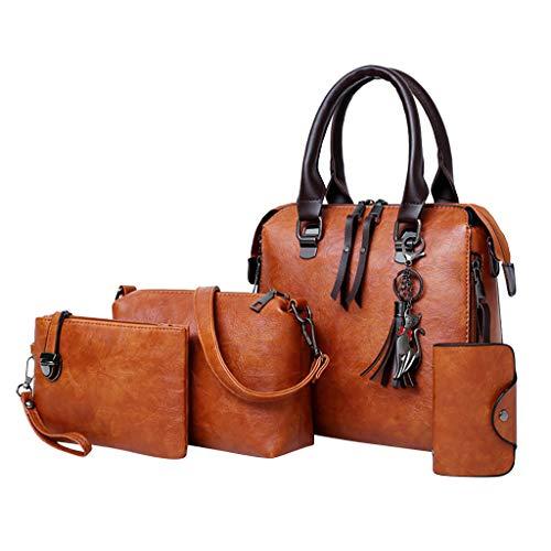Roxy Canvas Tote (Tohole 3-Teiliges Set Handtasche Damen Shopper Schultertasche Umhängetasche Geldbörse Tragetasche Groß Tasche Tote für Büro Schule Einkauf Reise Leder Handtasche (braun,4PC))