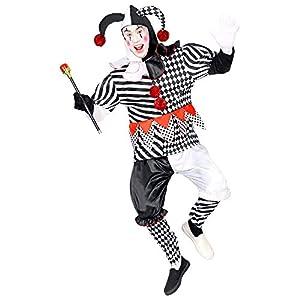 WIDMANN 09502 - Disfraz de arlequín para hombre, color blanco y negro, talla M