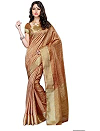 Mimosa Women's Tassar Silk Saree With Blouse Piece (2073-Chiku,Chiku,Free Size)