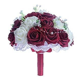 Bouquet Nupcial de Novia de la Boda Ramo de Rosas Flores Artificiales para Decoración Banquete de Bodas