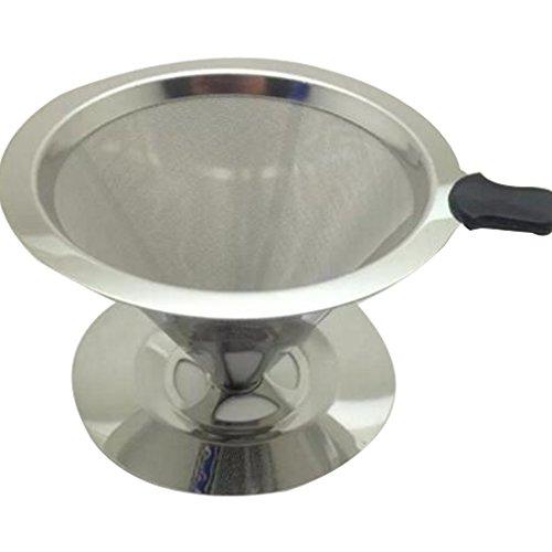 LYLXS Permanent Filterfreier Kaffeetrichter Edelstahl Kaffeefilter 1x4 für Filtertüten Filtertrichter silber , Größe