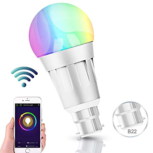 Smart Bulb, Wifi LED Alexa Light Bulbs With Aluminum Alloy Case, Dimmable RGB Colorful Hue Bulbs Work With Amazon Alexa Echo & Google Home, Has 16 Million Colors, Timing Function, Remote Controlled by IOS/Android (B22)