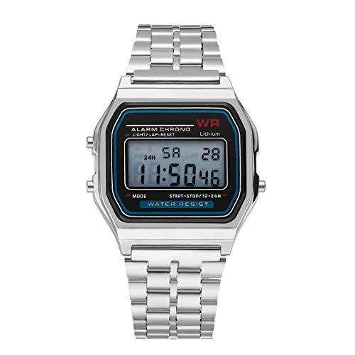 Mode Vintage LED Digitaluhr Edelstahlband Alarm Armbanduhr Kleid Geschäfts Armbanduhr Für Männer Frauen