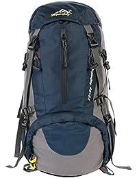 UMEICOOL 50L Impermeable Senderismo Mochila de Gran Capacidad Montañismo Daypack Deporte Al Aire Libre para Viaje Acampar Deporte Senderismo Camping Pesca Esquí (azul oscuro)