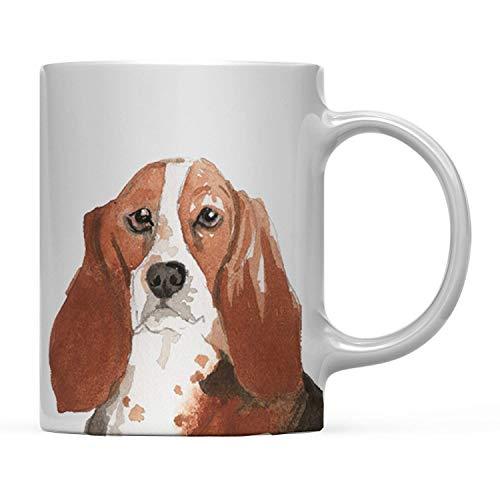 TANGGOOD 11oz. Hund Kaffee-Haferl Geschenk, Basset Hound hautnah, 1-Pack, Haustier Tierliebhaber Geburtstag Familie -