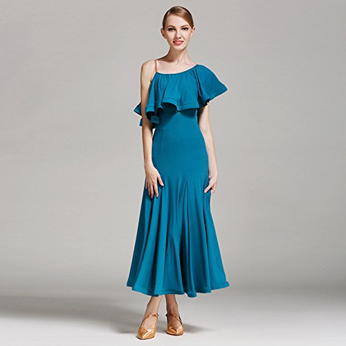 Pendel Lotus Leaf Ballroom Dance Kleid Modern Dance Dress Tango und Walzer Tanz Kleid Tanzwettbewerb Rock Strap Dress Dance Kostüm,Blue,XL (Tanz Kostüme Strapse)