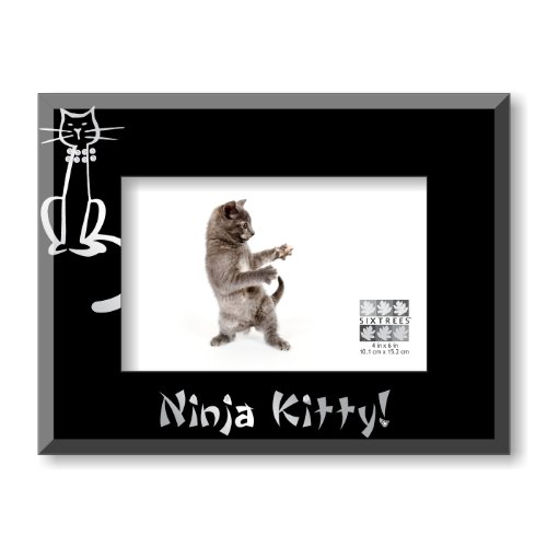 sixtrees-ninja-kitty-glass-with-rhinestone-frame-4-by-6-inch