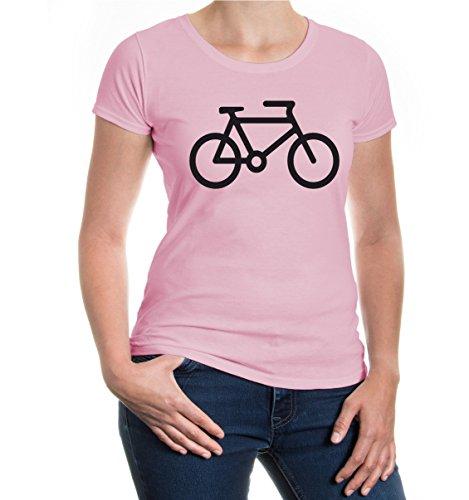 buXsbaum® Girlie T-Shirt Fahrrad Lightpink-Black