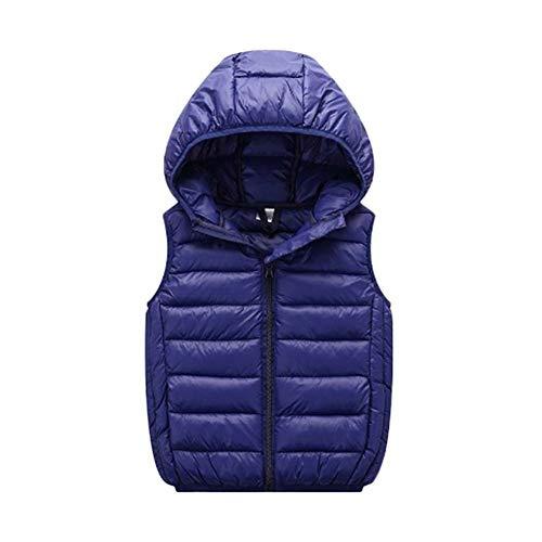 Guiran unisex leggero gilet ragazzi e ragazze caldo cappotto giubbotto senza maniche giacche con cappuccio marina militare 170
