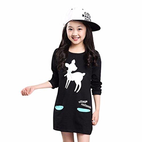 feiXIANG mädchen kinder kleider print - kleid Rock outfit Kinder Ballkleid Mädchen Langarm Printkleid Charakter Cartoon Druck Tasche Rock (120, Schwarz)