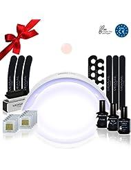 KIT MANUCURE SEMI PERMANENTE - Lampe UV/LED 24W • KIT DESIGN White Edition • Lampe UV LED Sèche ongles 24W • Lampe Garantie à vie - Cadeau de Noël - Normes CE
