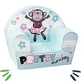DELSIT Kindersessel Babysessel Kinder Sessel Baby Sitz Kindermöbel für Mädchen PRETTY MONKEY Blau
