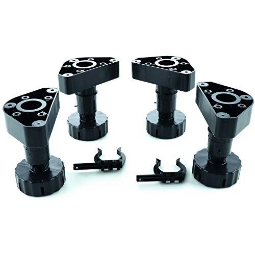 secotec Socle réglable Pieds Unico plastique noir 100 mm SB-plus 4, Lot de 4, 323370/377/380/381