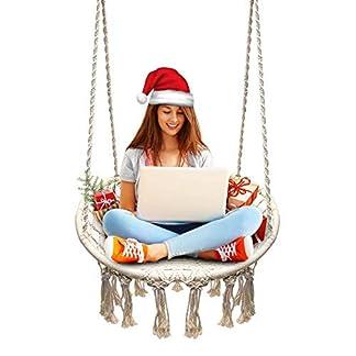 JKsmart Silla Hamaca Colgante, Tejida con Cuerda de Algodón con Bordados de Tema Romántico Estilo Hamaca Tejida en Macramé para Interior/Exterior. Peso máximo de 120kg