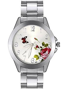 Sanwood Unisex Schmetterling Blume Armbanduhr Silber Gurt Silber Fall