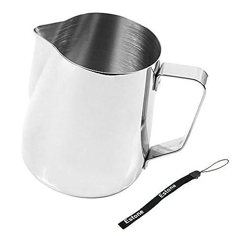 Estone Kitchen Craft Barista Pichet à café thé lait Latte mousser Thermomètre, Acier inoxydable, 350ml Jug