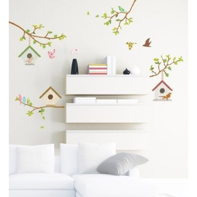 Decowall, DP-60032, Birds, birdhouse and branches Wall Stickers, Home Art Decoration-wall stickers/wall decals/wall transfers/wall tattoos/wall sticker