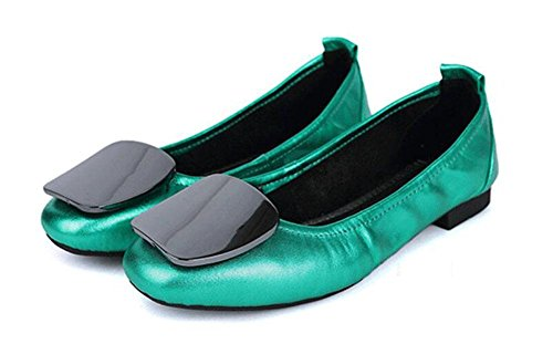 SHINIK Femmes plier les bottes de ballet chaussures d'oeuf de vache Chaussures Femmes tête peu profonde Bottom Bottom Shoes Boucle latérale Soft Bottom confortable en cuir plat avec des chaussures Green