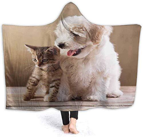 SVDziAeo Hooded Blanket Kitten and Dog Friends Weiche Sherpa-Fleecedecken für Erwachsene Kuschelige Außendecke mit Kapuze (mit Kapuze) Colorful20801 -