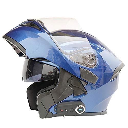Caschi Moto Bluetooth Modular Smart Flip up Musica Casco Integrale Cuffia Risposta Automatica Multifunzione DOT Casco Anti-Nebbia Doppio Specchio (Tesoro Blu),XXL