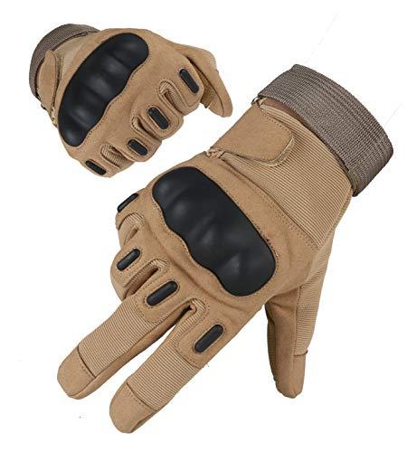 Taktische Airsoft Militärhandschuhe für Männer und Frauen, Full Finger Touchscreen harte Knöchel Handschuhe für Jagd, Schießen, Motorrad, Radfahren, Wandern, Slumbering Schwerindustrie - khaki - L Finger-touch Screen