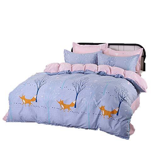 UNIQUEJASON infaches Bett, vierteiliger Schlafsaal mit Schlafsofa für Zwei Personen, Schlafzimmer mit Quiltbettwäsche (Little Fox, 1.5m Bed Four-Piece Cover Quilt Cover 160 * 210)