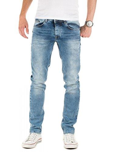 WOTEGA Herren Jeans Alistar Slim fit - Denim Hose Männer Jeanshose Stretch - Used Look, Blau (Forever Blue 164019), W34/L32