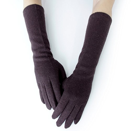- 41DF8KM3fJL - GSG Womens Winter Warm Knitted Wool Gloves Arm Warmer Gloves Touch Screen Driving Gloves Long or Mid Length