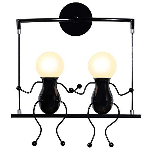Kawell humanoid creativo applique da parete moderna lampada da parete semplice lampada a muro applique candelabro art deco max 60w e27 base in ferro per stanza dei bambini, comodino camera da letto, scale, corridoio, ristorante, cucina, swing nero x2