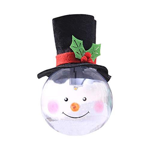 WOBANG Weihnachten Deko - Christmas Weihnachtsbaum kreativen Weihnachtsdekorationen mit Lichtschaumpartikeln Weihnachtsballkarikatur (Schneemann)