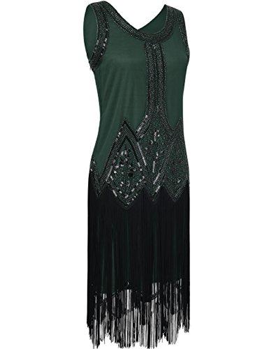 PrettyGuide Femme Années 1920 Vintage Perle Frange Inspired Robe Charleston Vert