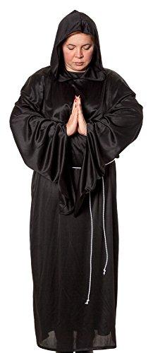m Nonne Schwarz Klosterfrau Ordensschwester Mittelalter Kutte Horror Henker Helloween Groesse: XXL/XXXL (Horror Motto Kostüme)