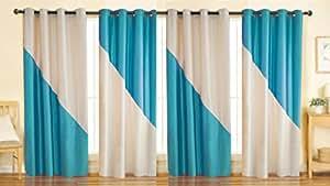 Stella Creations Polyester Aqua Solid Eyelet Long Door Curtains (4x9 feet) - Set of 4