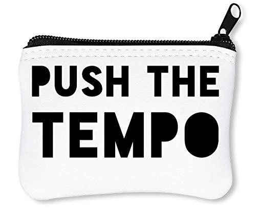 Push The Tempo Party Dance Slogan Reißverschluss-Geldbörse Brieftasche Geldbörse -